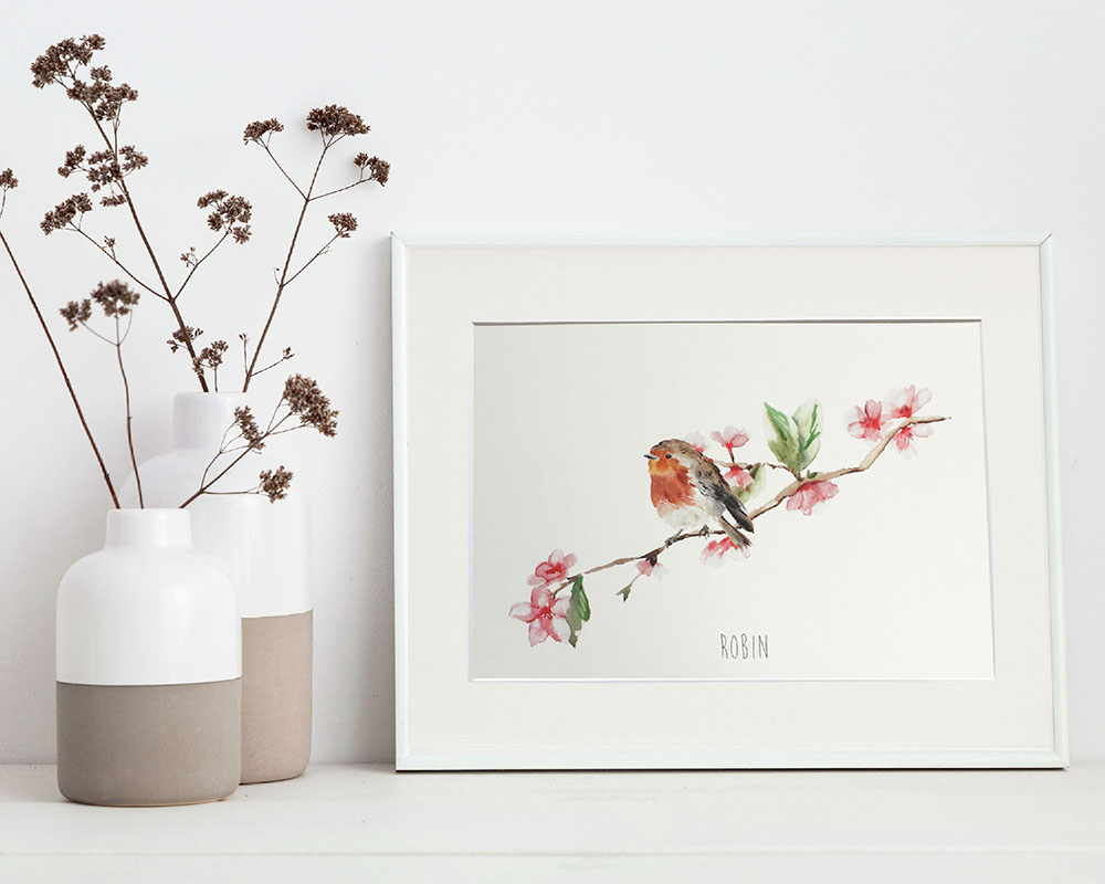Robin and Blossom Art Print