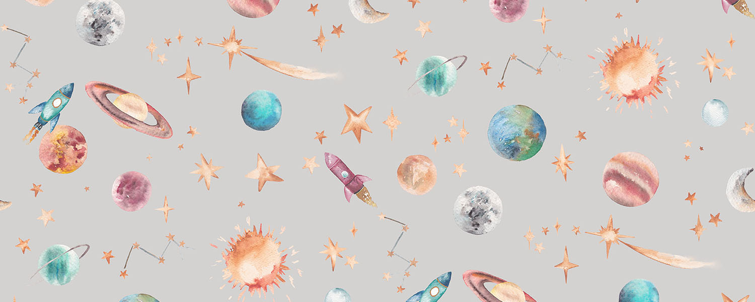 Planets print, available as a wallpaper and a fabric.