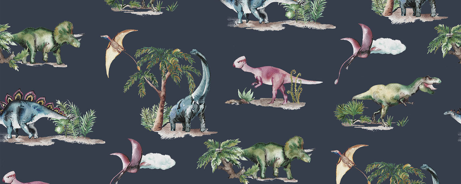 Dinosaurs print, available as a wallpaper and a fabric.