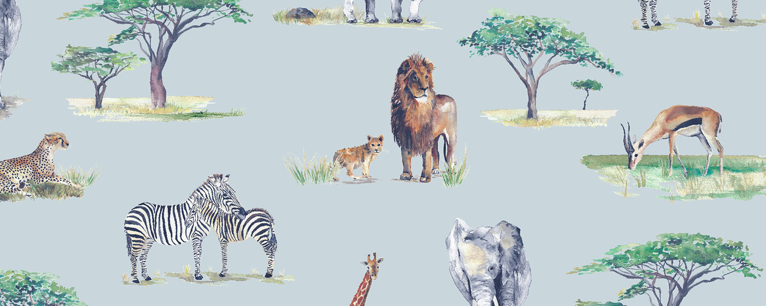 Safari print, available as a wallpaper and a fabric.