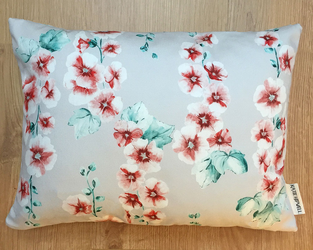 Hollyhocks Coral Cushion
