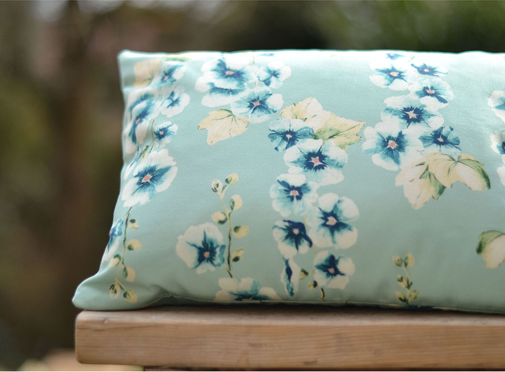 Hollyhocks Aqua Cushion